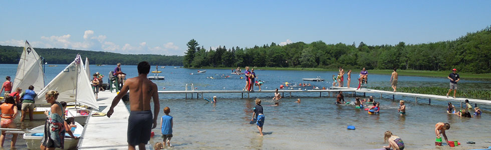 Busy waterfront at Nichols Day Camps