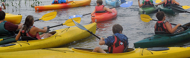 Kayaks at Adventure Camp at Nichols Day Camps
