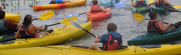 Kayaks at Adventure Camp at Nichols Day Camps